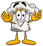 Clip Art Graphic of a White Chefs Hat Cartoon Character With Welcoming Open Arms