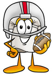 Clip Art Graphic of a White Chefs Hat Cartoon Character in a Helmet, Holding a Football