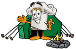 Clip Art Graphic of a White Chefs Hat Cartoon Character Camping With a Tent and Fire