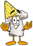 Clip Art Graphic of a White Chefs Hat Cartoon Character Wearing a Birthday Party Hat