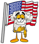 Clip Art Graphic of a White Chefs Hat Cartoon Character Pledging Allegiance to an American Flag
