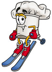Clip Art Graphic of a White Chefs Hat Cartoon Character Skiing Downhill