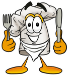 Clip Art Graphic of a White Chefs Hat Cartoon Character Holding a Knife and Fork