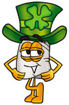 Clip Art Graphic of a White Chefs Hat Cartoon Character Wearing a Saint Patricks Day Hat With a Clover on it