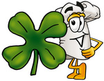 Clip Art Graphic of a White Chefs Hat Cartoon Character With a Green Four Leaf Clover on St Paddy's or St Patricks Day