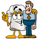 Clip Art Graphic of a White Chefs Hat Cartoon Character Talking to a Business Man
