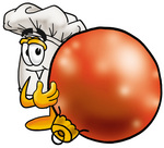 Clip Art Graphic of a White Chefs Hat Cartoon Character Standing With a Christmas Bauble