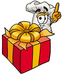 Clip Art Graphic of a White Chefs Hat Cartoon Character Standing by a Christmas Present