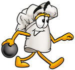 Clip Art Graphic of a White Chefs Hat Cartoon Character Holding a Bowling Ball