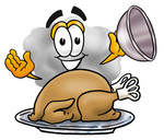 Clip Art Graphic of a Puffy White Cumulus Cloud Cartoon Character Serving a Thanksgiving Turkey on a Platter