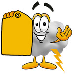 Clip Art Graphic of a Puffy White Cumulus Cloud Cartoon Character Holding a Yellow Sales Price Tag