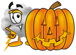 Clip Art Graphic of a Puffy White Cumulus Cloud Cartoon Character With a Carved Halloween Pumpkin