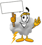 Clip Art Graphic of a Puffy White Cumulus Cloud Cartoon Character Holding a Blank Sign