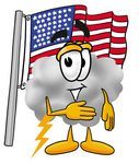 Clip Art Graphic of a Puffy White Cumulus Cloud Cartoon Character Pledging Allegiance to an American Flag