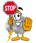 Clip Art Graphic of a Puffy White Cumulus Cloud Cartoon Character Holding a Stop Sign