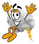 Clip Art Graphic of a Puffy White Cumulus Cloud Cartoon Character Jumping