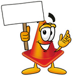 Clip Art Graphic of a Construction Traffic Cone Cartoon Character Holding a Blank Sign