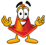 Clip Art Graphic of a Construction Traffic Cone Cartoon Character With Welcoming Open Arms