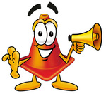 Clip Art Graphic of a Construction Traffic Cone Cartoon Character Holding a Megaphone