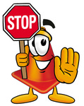 Clip Art Graphic of a Construction Traffic Cone Cartoon Character Holding a Stop Sign