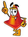 Clip Art Graphic of a Construction Traffic Cone Cartoon Character Pointing Upwards