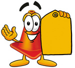 Clip Art Graphic of a Construction Traffic Cone Cartoon Character Holding a Yellow Sales Price Tag