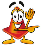Clip Art Graphic of a Construction Traffic Cone Cartoon Character Waving and Pointing