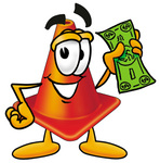Clip Art Graphic of a Construction Traffic Cone Cartoon Character Holding a Dollar Bill