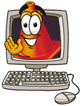 Clip Art Graphic of a Construction Traffic Cone Cartoon Character Waving From Inside a Computer Screen