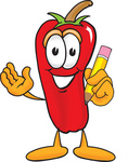 Clip Art Graphic of a Red Chilli Pepper Cartoon Character Holding a Pencil