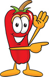 Clip Art Graphic of a Red Chilli Pepper Cartoon Character Waving and Pointing