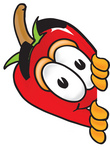 Clip Art Graphic of a Red Chilli Pepper Cartoon Character Peeking Around a Corner
