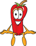 Clip Art Graphic of a Red Chilli Pepper Cartoon Character Sitting