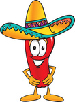Clip Art Graphic of a Red Chilli Pepper Cartoon Character Wearing a Sombrero Hat