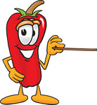 Clip Art Graphic of a Red Chilli Pepper Cartoon Character Holding a Pointer Stick