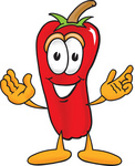 Clip Art Graphic of a Red Chilli Pepper Cartoon Character With Welcoming Open Arms