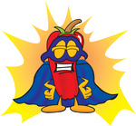 Clip Art Graphic of a Red Chilli Pepper Cartoon Character Dressed as a Super Hero