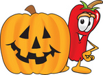 Clip Art Graphic of a Red Chilli Pepper Cartoon Character With a Carved Halloween Pumpkin