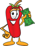 Clip Art Graphic of a Red Chilli Pepper Cartoon Character Holding a Dollar Bill