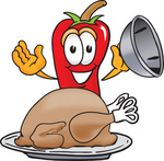 Clip Art Graphic of a Red Chilli Pepper Cartoon Character Serving a Thanksgiving Turkey on a Platter
