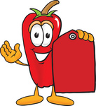 Clip Art Graphic of a Red Chilli Pepper Cartoon Character Holding a Red Sales Price Tag