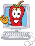 Clip Art Graphic of a Red Chilli Pepper Cartoon Character Waving From Inside a Computer Screen
