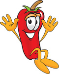 Clip Art Graphic of a Red Chilli Pepper Cartoon Character Jumping