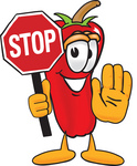 Clip Art Graphic of a Red Chilli Pepper Cartoon Character Holding a Stop Sign