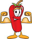 Clip Art Graphic of a Red Chilli Pepper Cartoon Character Flexing His Arm Muscles