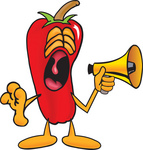 Clip Art Graphic of a Red Chilli Pepper Cartoon Character Screaming Into a Megaphone