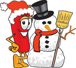Clip Art Graphic of a Red Chilli Pepper Cartoon Character With a Snowman on Christmas