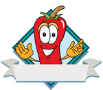 Clip Art Graphic of a Red Chilli Pepper Cartoon Character Label