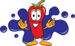 Clip Art Graphic of a Red Chilli Pepper Cartoon Character Logo With Blue Paint Splatters