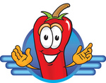 Clip Art Graphic of a Red Chilli Pepper Cartoon Character Logo